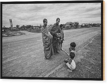 Khmer Rouge Monks Wood Print by David Longstreath