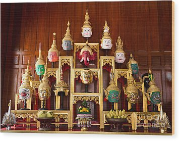 Khon Masks Is Situated On The Set Of Altar Table Wood Print by Tosporn Preede
