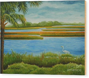 Wood Print featuring the painting Kiawah Marsh by Shelia Kempf