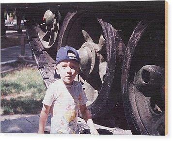 Kid And Tank. Wood Print by Vitaliy Shcherbak