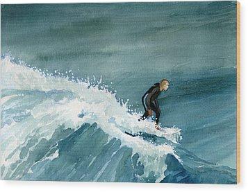 Kid Riding Wave Wood Print