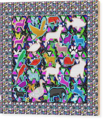 Kids Count The Birds Butterflies N Animals Circle Artistic Navin Joshi Rights Managed Images Graphic Wood Print by Navin Joshi