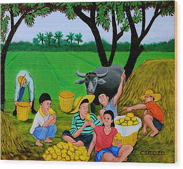 Wood Print featuring the painting Kids Eating Mangoes by Cyril Maza