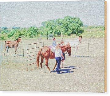 'kids Horse Heaven' Wood Print