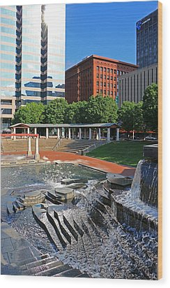 Kiener Plaza Morning Wood Print by Christopher McKenzie