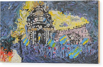 Kiev Burning Wood Print by Marwan George Khoury