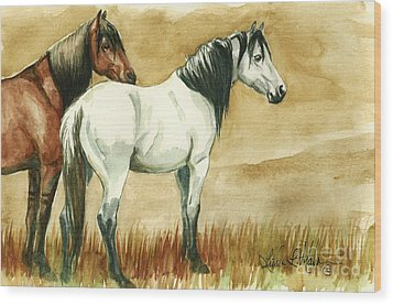 Kiger Mares Wood Print by Linda L Martin