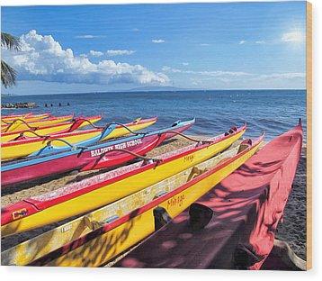 Wood Print featuring the photograph Kihei Canoe Club 6 by Dawn Eshelman