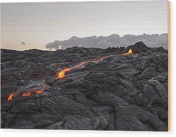Kilauea Volcano 60 Foot Lava Flow - The Big Island Hawaii Wood Print by Brian Harig
