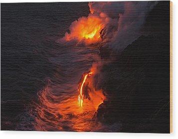Kilauea Volcano Lava Flow Sea Entry - The Big Island Hawaii Wood Print by Brian Harig