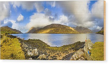 Killary Fjord - Irish Panorama Wood Print by Mark E Tisdale