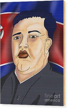 Kim Jong Un Wood Print by Ironheart Illustrations