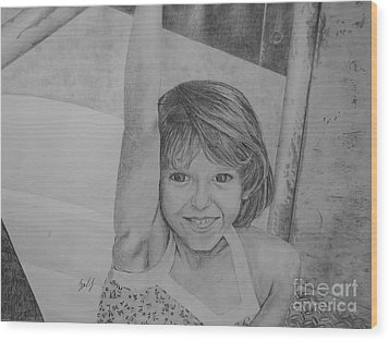 Kimberly In Black And White Wood Print