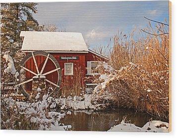 Kimberton Mill After Snow Wood Print