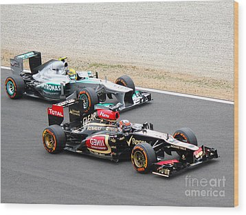 Kimi Raikkonen And Lewis Hamilton Wood Print