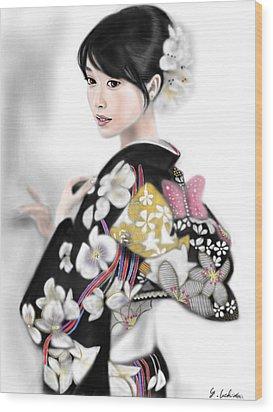 Kimono Girl No.1 Wood Print by Yoshiyuki Uchida