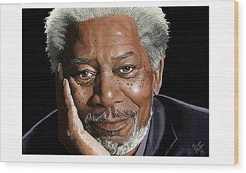 Kind Face Morgan Freeman Wood Print by Brien Miller