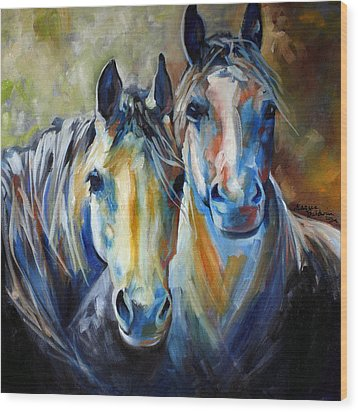Kindred Souls Equine Wood Print by Marcia Baldwin