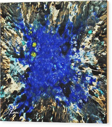 Wood Print featuring the painting Kinetic Blue by Joan Reese