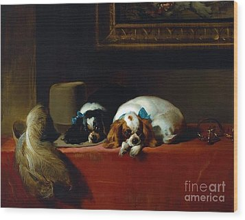 King Charles Spaniels Wood Print by Pg Reproductions
