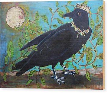 King Crow Wood Print by Blenda Studio