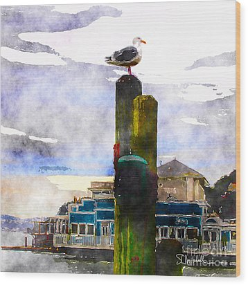 Sausolito Gull Wood Print