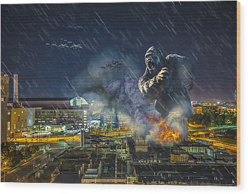 Wood Print featuring the photograph King Kong By Ford Field by Nicholas  Grunas