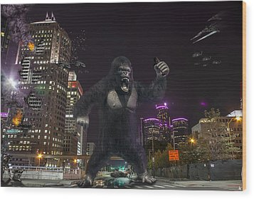 Wood Print featuring the photograph King Kong On Jefferson St In Detroit by Nicholas  Grunas