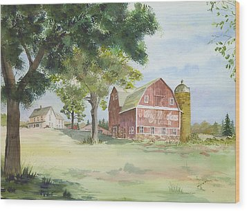 Wood Print featuring the painting King Midas Barn by Susan Crossman Buscho