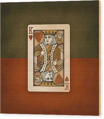 King Of Hearts In Wood Wood Print by YoPedro