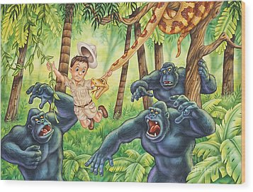 King Of The Jungle Wood Print by Phil Wilson