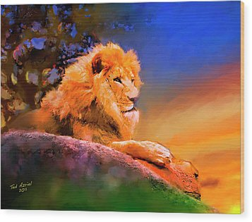 King Of The Jungle Wood Print by Ted Azriel