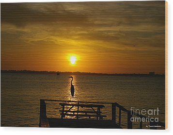 Wood Print featuring the photograph King Of The Pier by Tannis  Baldwin