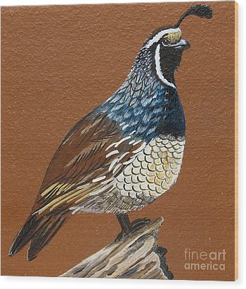 Wood Print featuring the painting King Quail by Jennifer Lake