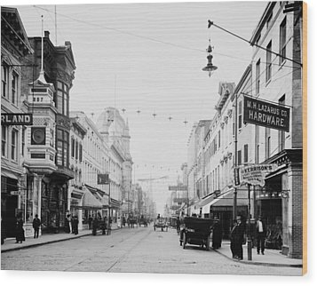 King Street In Charleston South Carolina Circa 1910 Wood Print by Mountain Dreams