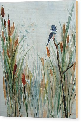 Kingfisher Dragonflies And Cattails Wood Print