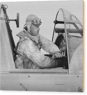 Kingfisher Pilot Wood Print by Lyle Brown