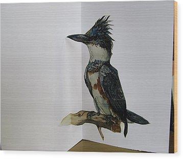 Kingfisher Pop Up Card Wood Print by Alfred Ng