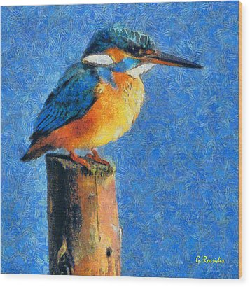 Kingfisher The King Wood Print by George Rossidis