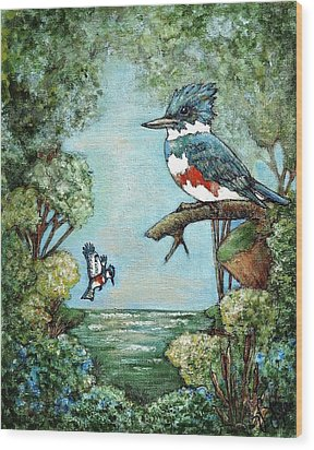 Wood Print featuring the painting Kingfishers Cove by VLee Watson