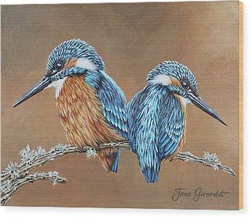 Kingfishers Wood Print by Jane Girardot