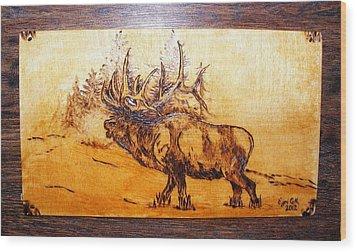 Kingof Forest-wood Pyrography Wood Print by Egri George-Christian
