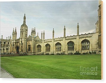 Wood Print featuring the photograph King's College Facade by Eden Baed