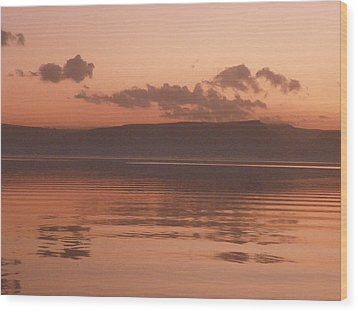 Kinneret Ripples At Dusk Wood Print by Noreen HaCohen