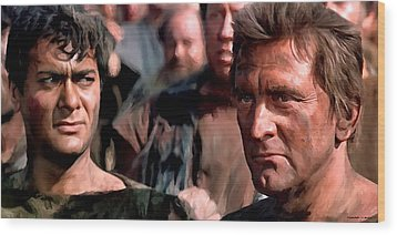 Kirk Douglas And Tony Curtis In The Film Spartacus Wood Print