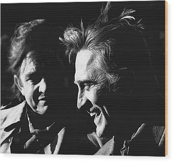 Wood Print featuring the photograph Kirk Douglas Laughing Johnny Cash Old Tucson Arizona 1971 by David Lee Guss