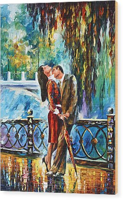 Kiss After The Rain New Wood Print by Leonid Afremov