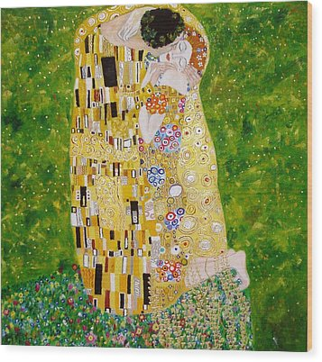 Kiss G.klimt Wood Print by Nina Mitkova