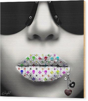 Kiss Me Silver Wood Print