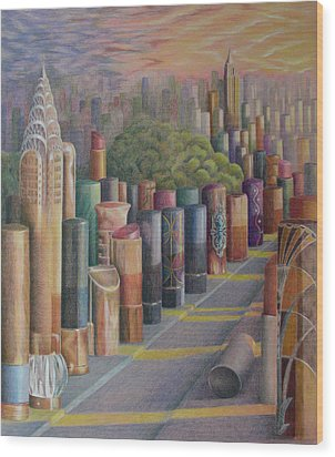 Kiss Of New York Wood Print by Mary Jo Jung